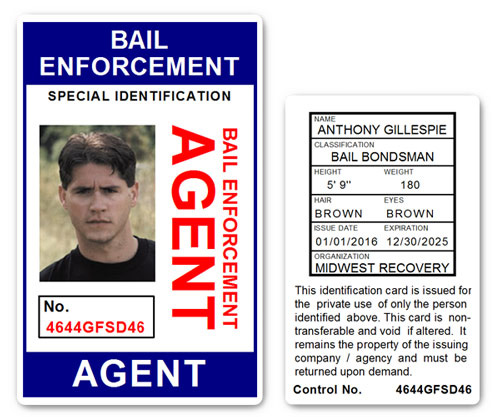 Bail Enforcement Agent No 2. PVC ID Card