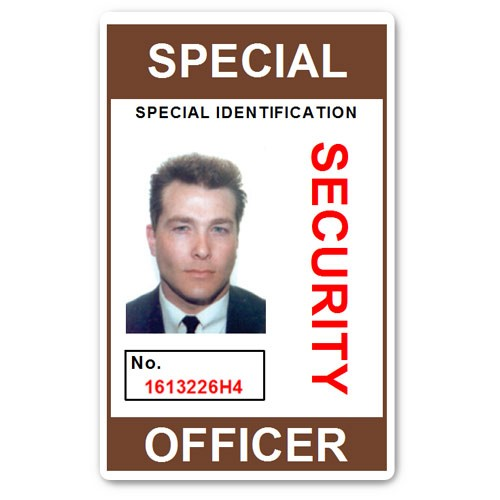Special Security Officer PVC ID Card in Brown