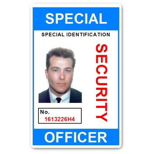 Special Security Officer PVC ID Card in Light Blue