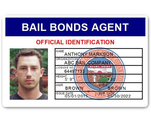 Bail Bonds Agent PVC ID Card in Blue
