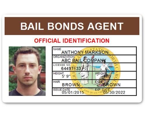 Bail Bonds Agent PVC ID Card in Brown
