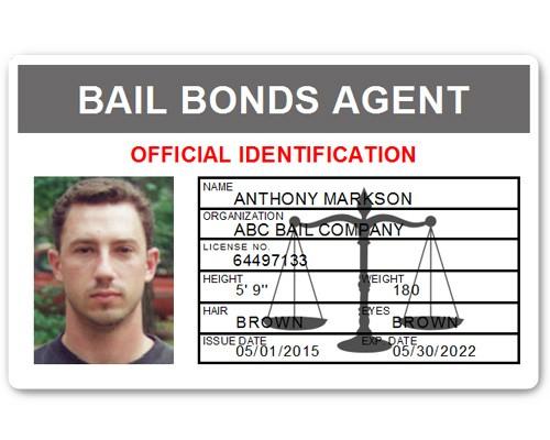 Bail Bonds Agent PVC ID Card in Grey