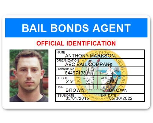 Bail Bonds Agent PVC ID Card in Light Blue