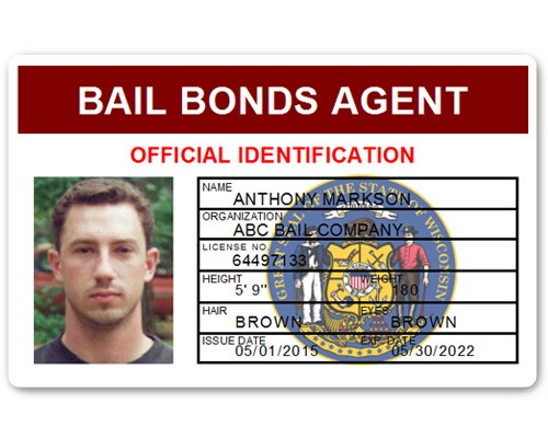 Bail Bonds Agent PVC ID Card in Maroon
