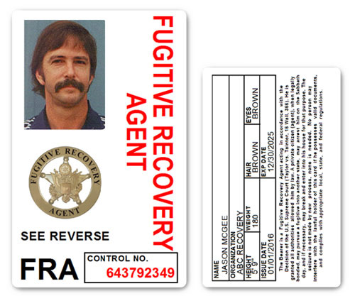 Fugitive Recovery Agent PVC ID Card C501PVC