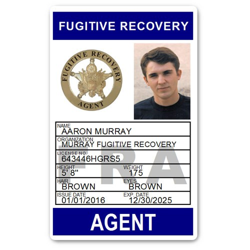 Fugitive Recovery Agent PVC ID Card C502PVC in Blue