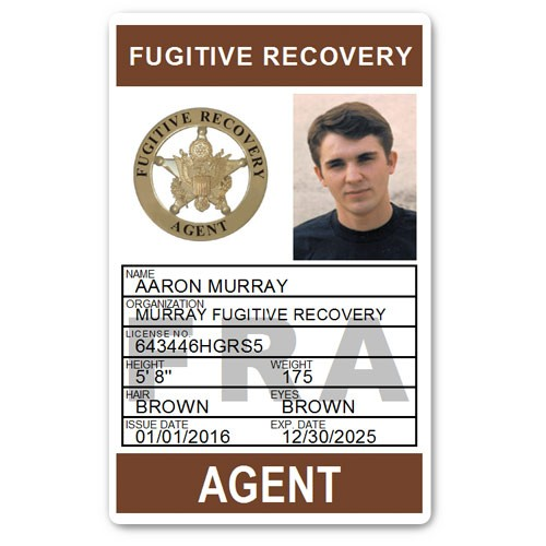 Fugitive Recovery Agent PVC ID Card C502PVC in Brown