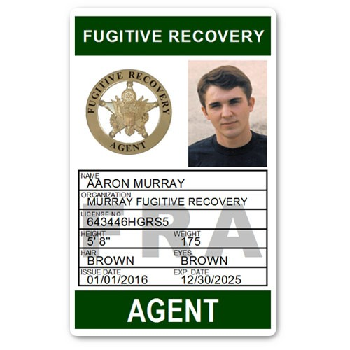 Fugitive Recovery Agent PVC ID Card C502PVC in Green