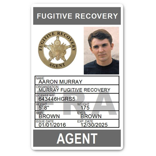 Fugitive Recovery Agent PVC ID Card C502PVC in Grey
