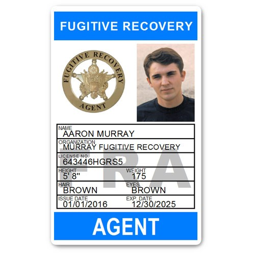 Fugitive Recovery Agent PVC ID Card C502PVC in Light Blue