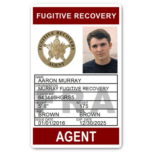 Fugitive Recovery Agent PVC ID Card C502PVC in Maroon