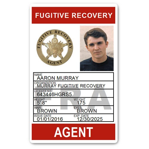 Fugitive Recovery Agent PVC ID Card C502PVC in Red