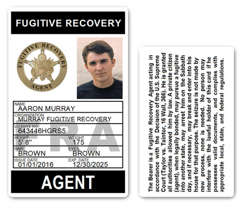 Fugitive Recovery Agent PVC ID Card C502PVC