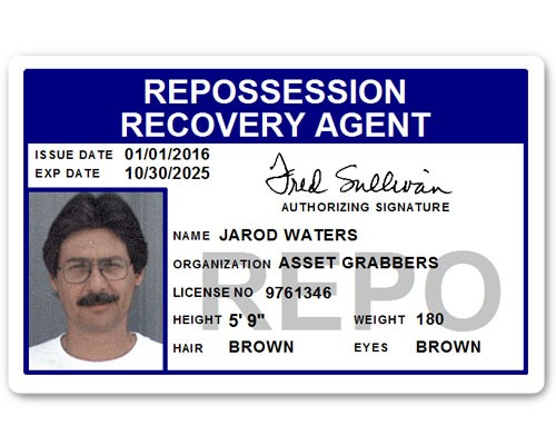 Repo Recovery Agent PVC ID Card in Blue