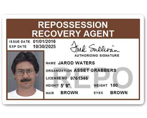 Repo Recovery Agent PVC ID Card in Brown