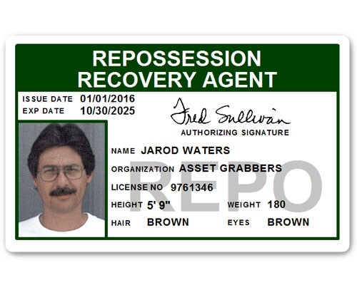 Repo Recovery Agent PVC ID Card in Green