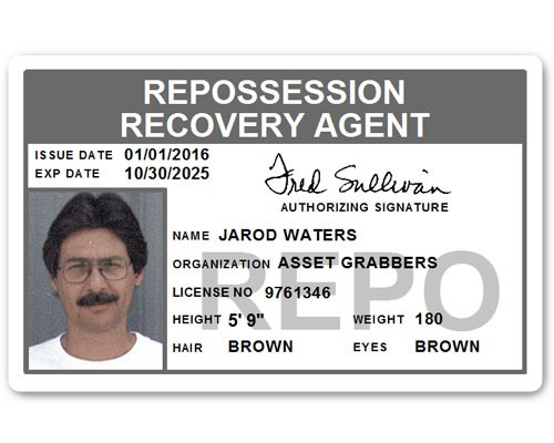 Repo Recovery Agent PVC ID Card in Grey