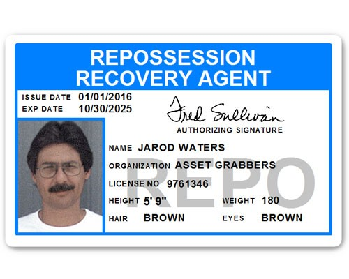 Repo Recovery Agent PVC ID Card in Light Blue