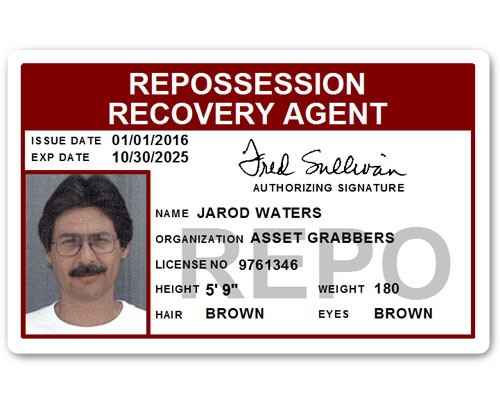 Repo Recovery Agent PVC ID Card in Maroon