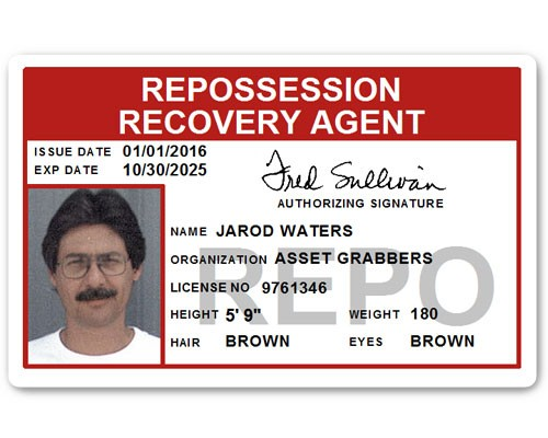 Repo Recovery Agent PVC ID Card in Red