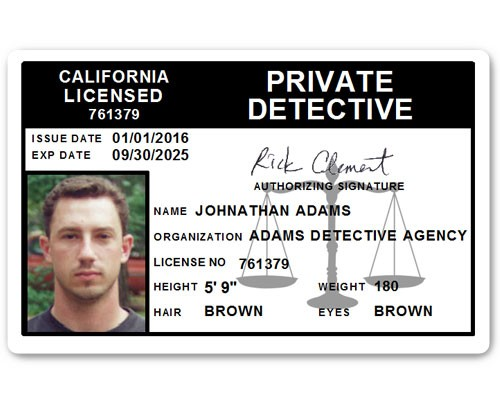 Private Detective PVC ID Card C510PVC in Black