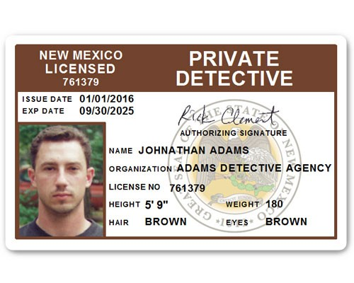 Private Detective PVC ID Card C510PVC in Brown