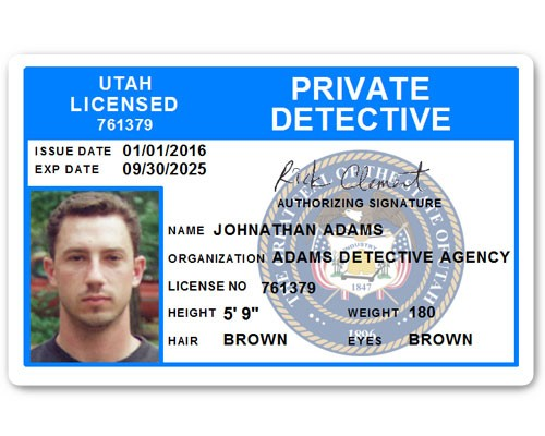 Private Detective PVC ID Card C510PVC in Light Blue