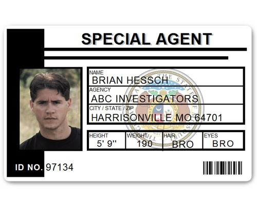 Special Agent PVC ID Card C511PVC in Black