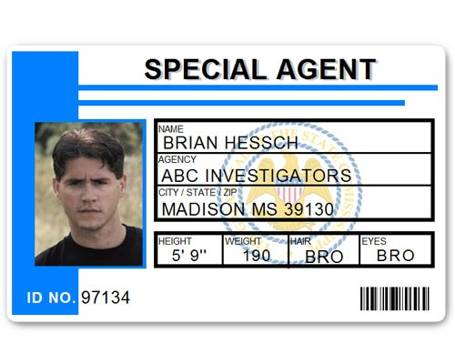 Special Agent PVC ID Card C511PVC in Light Blue