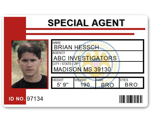Special Agent PVC ID Card C511PVC in Red