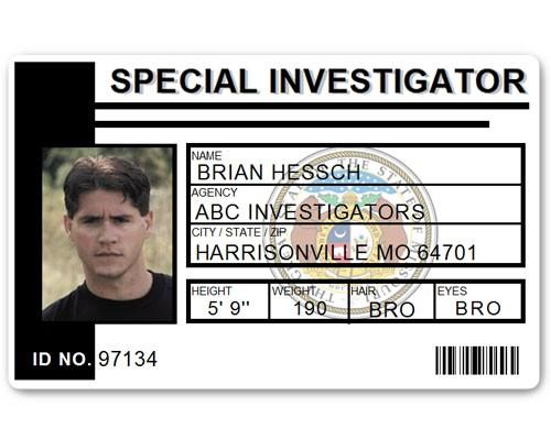 Special Investigator PVC ID Card C514PVC in Black