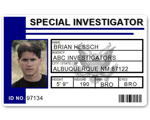 Special Investigator PVC ID Card C514PVC in Blue