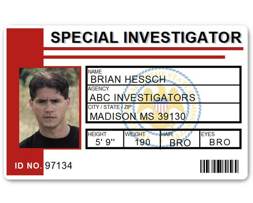 Special Investigator PVC ID Card C514PVC in Red