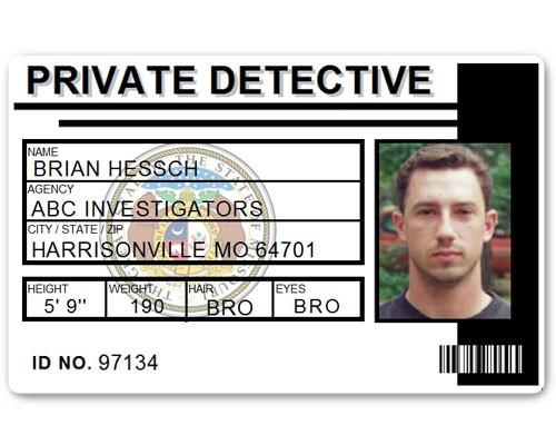 Private Detective PVC ID Card C516PVC in Black