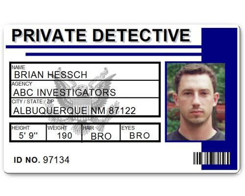 Private Detective PVC ID Card C516PVC in Blue