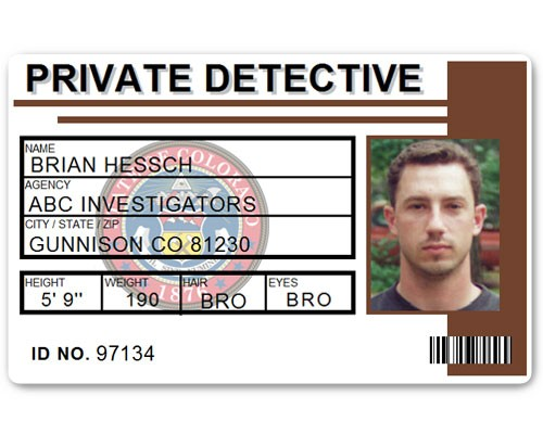 Private Detective PVC ID Card C516PVC in Brown