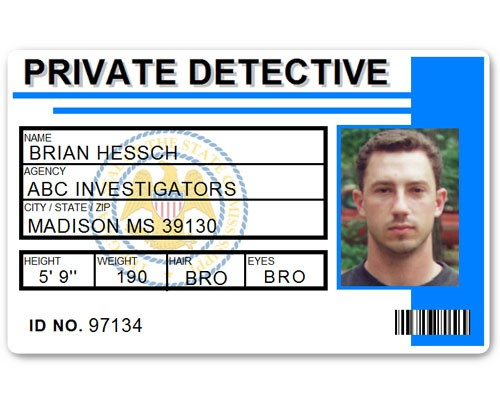 Private Detective PVC ID Card C516PVC in Light Blue