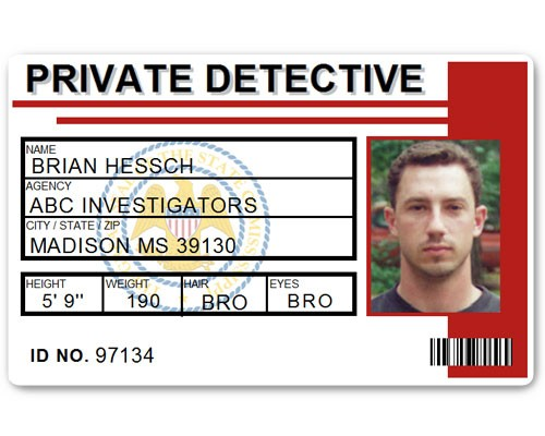 Private Detective PVC ID Card C516PVC in Red