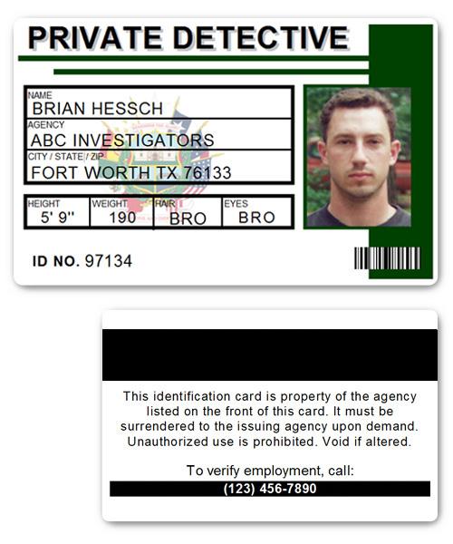 Private Detective PVC ID Card C516PVC