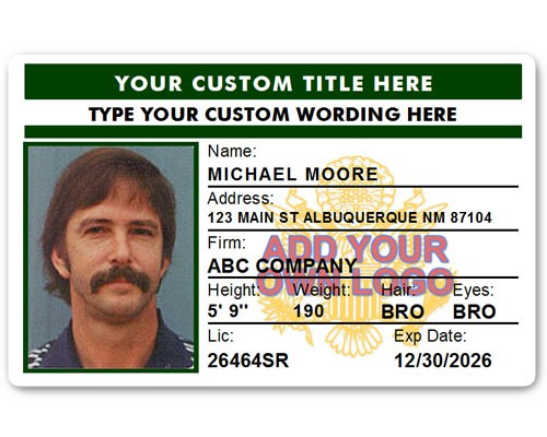 Corporate PVC ID Style #4 in Green