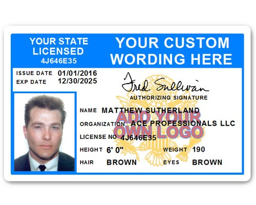 Corporate PVC ID Style #8 in Light Blue