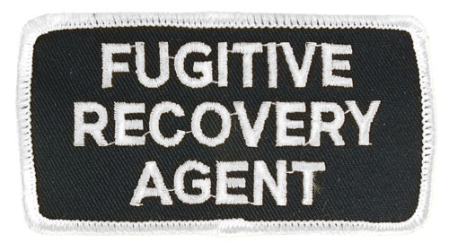Fugitive Recovery Agent Hat or Jacket Patch (White on Black)