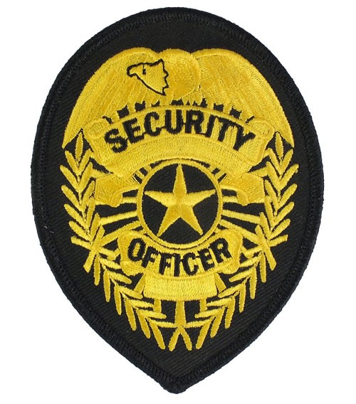 Security Officer Badge Patch (Gold on Black0