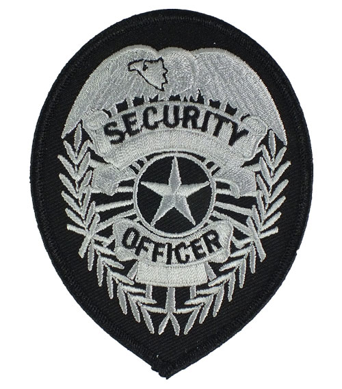 Security Officer Badge Patch (Silver on Black)