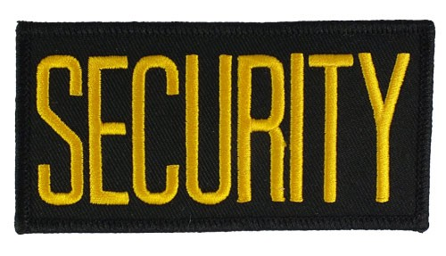 Small Security Hat or Jacket Patch (Gold on Black)