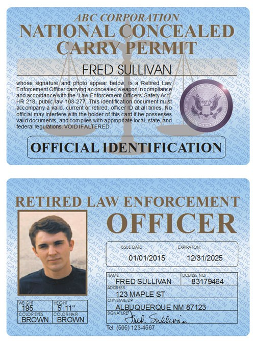 Retired LEO Concealed Carry Permit Standard Folio