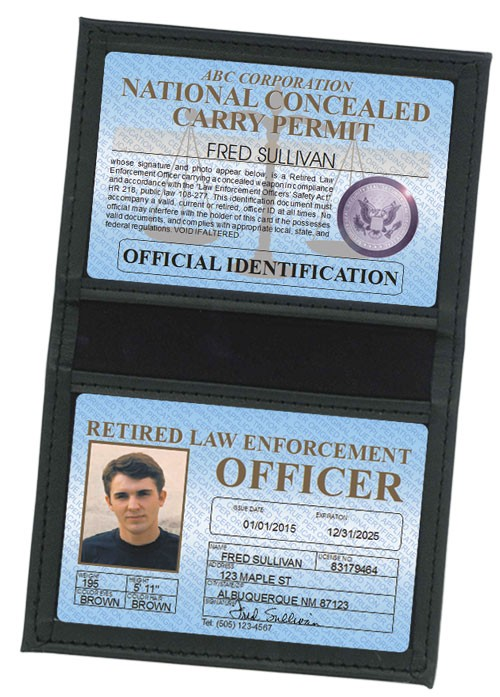 Retired LEO Concealed Carry Permit Standard Folio in Case