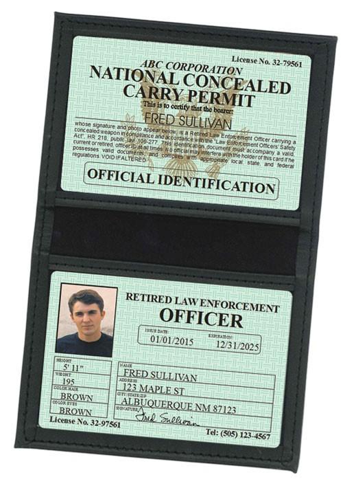 Retired LEO Concealed Carry Permit Classic Folio in Case