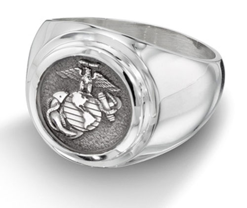 Men's Sterling Silver US Marine Corp Ring