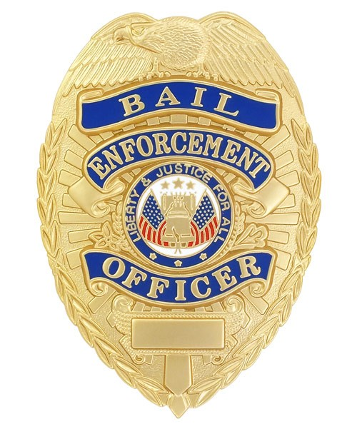 Bail Enforcement Officer-Blue Ribbon Badge (Gold)